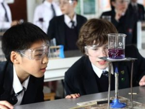 Chemistry lesson at Ffynone House School