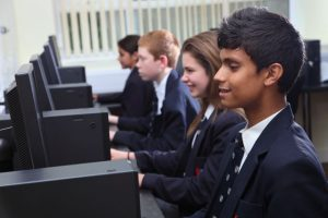 Pupils working at computers
