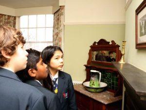 Students at Dylan Thomas' House Swansea