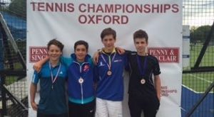 Ffynone House School tennis scholar in u14s doubles finals