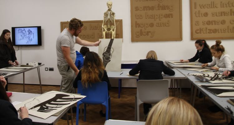 Ffynone House students at a Glynn Vivian Da Vinci workshop