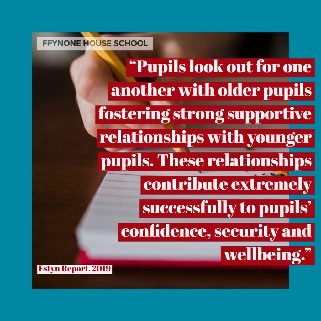 estyn report quote ffynone house school