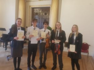 Musicians with their Abertawe Festival certificates
