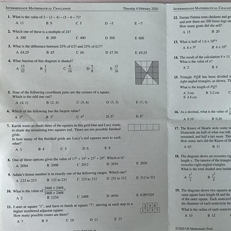 Intermediate Maths Challenge 2020